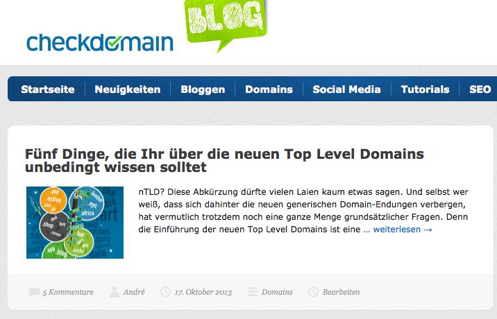Bloggen macht Spaß - wenn man erstmal die ersten Schritte gemacht hat... Screenshot: checkdomain.de