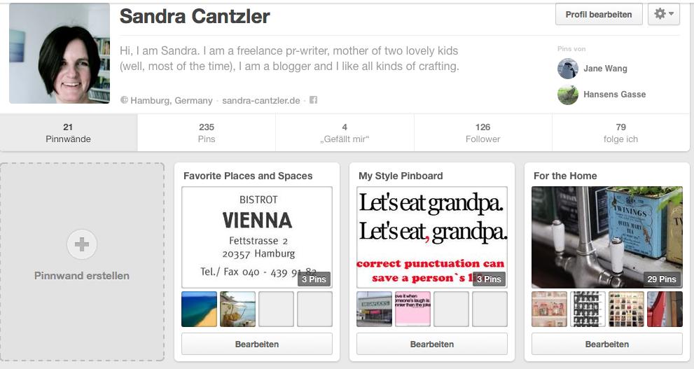 Pinterest schätze ich eigentlich sehr - trotzdem nutze ich es viel zu selten, ganz einfach weil mir die Zeit fehlt. Screenshot: Sandra Cantzler